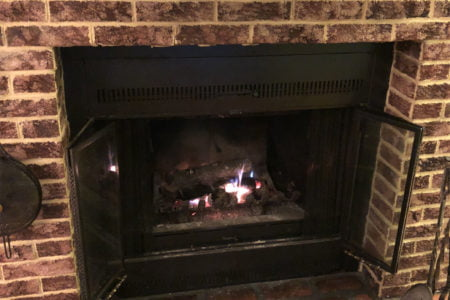 Updating an ugly 80s fireplace - before