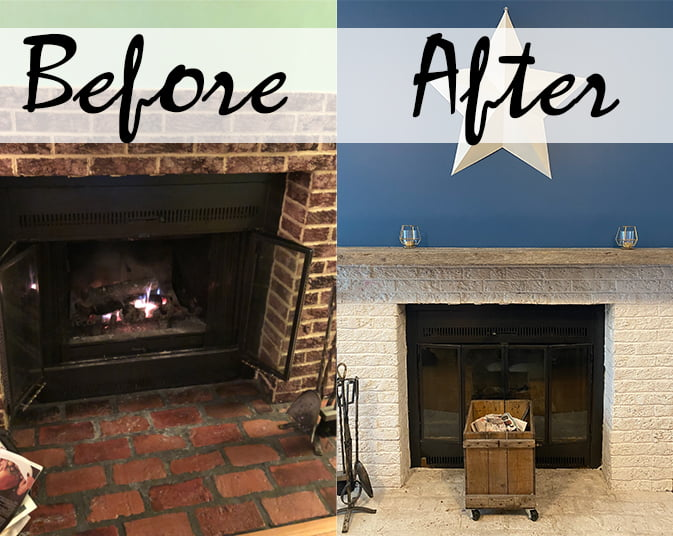 Ugly 80s Fireplace Makeover Before and After