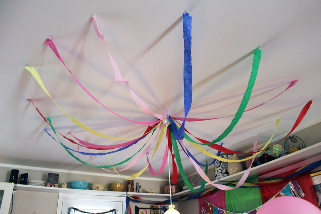 Streamers on the ceiling