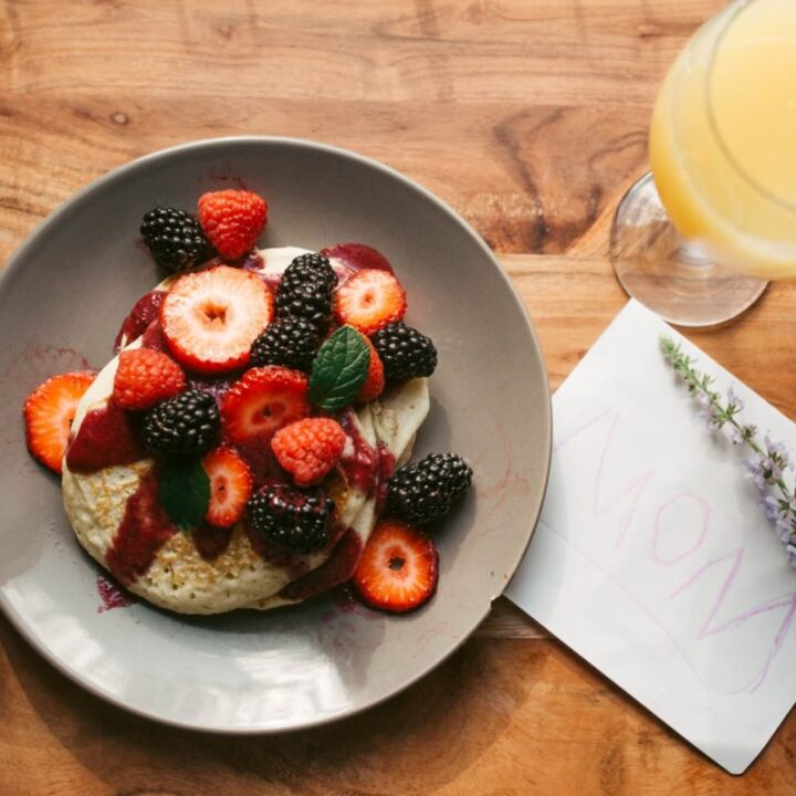Fruit Topped Pancakes for Mothers' Day Recipe