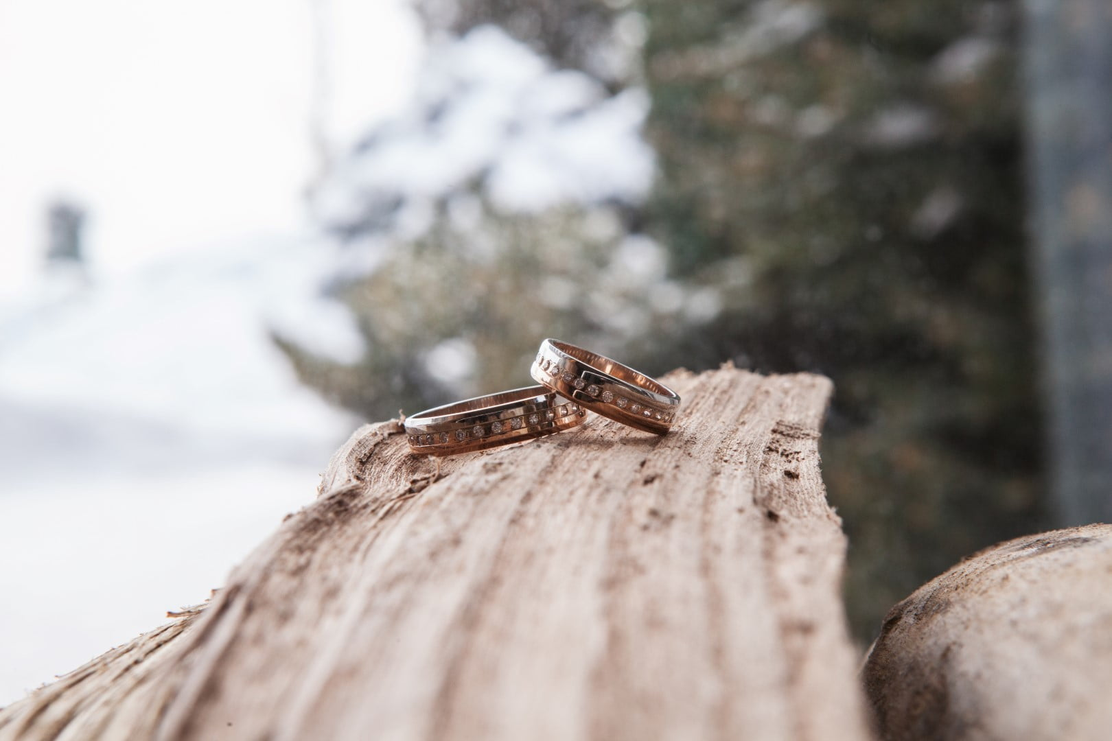 Wedding ring picture outdoors