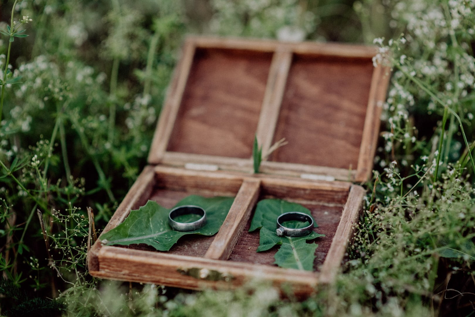 Wooden box - Unique Ways to Photograph Your Wedding Rings