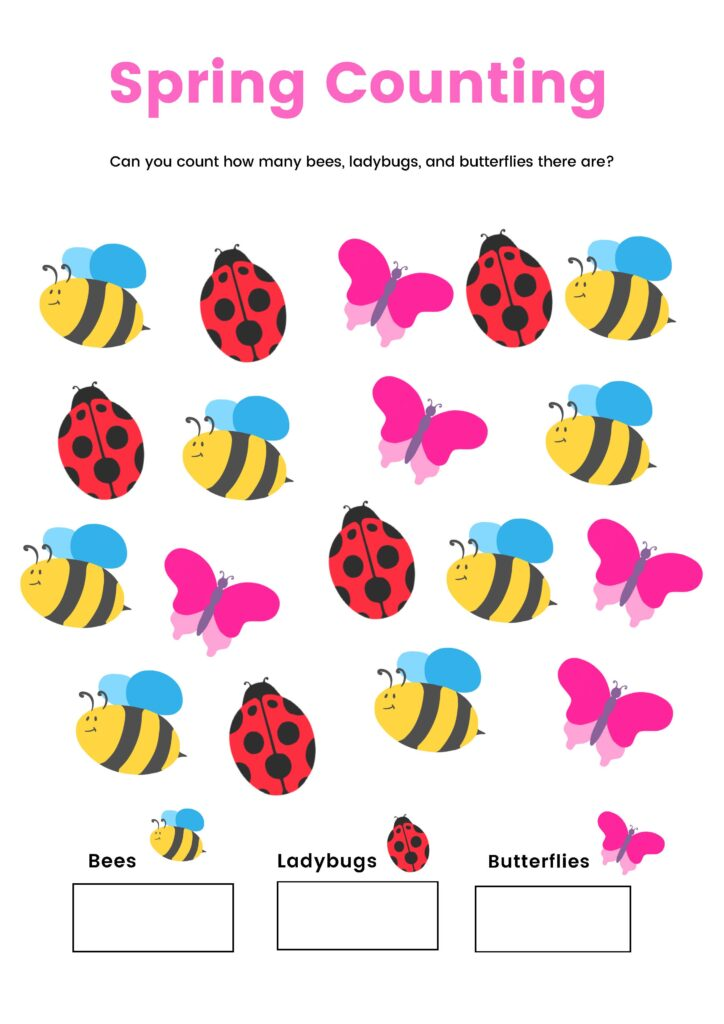 Spring Counting Printable for toddlers