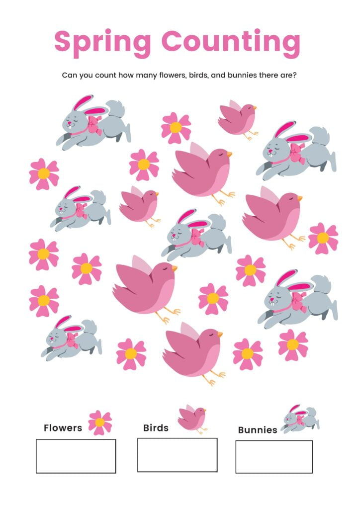 Spring Counting Printable for preschooloers