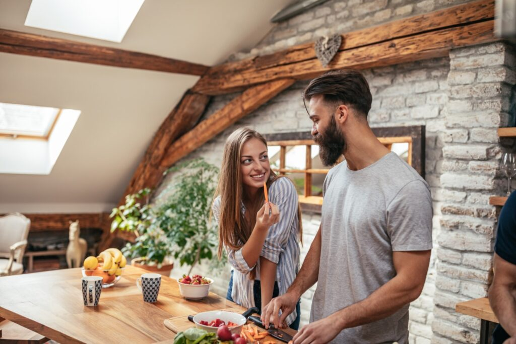 Couple enjoying a simple life while cooking together